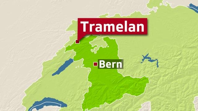 Karte Kanton Bern mit Tramelan