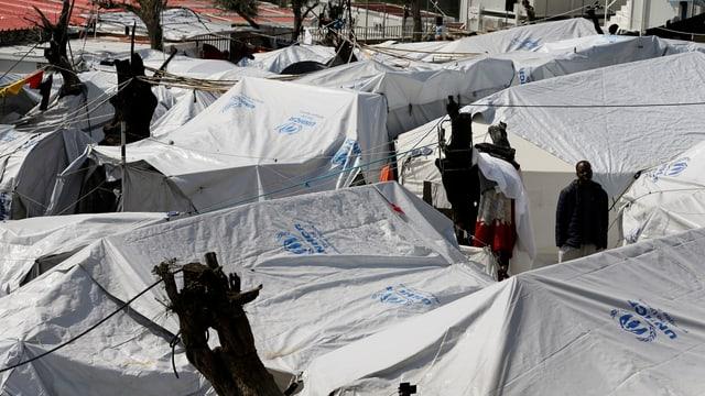 Weisse UNHCR-Zelte in Lesbos von oben.