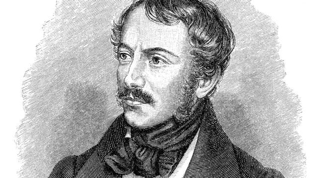 Ein Porträtzeichnung eines Mannes mit Schnauz und Backenbart.