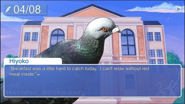 Eine Taube steht vor einem Schulgebäude – «Hatoful Boyfriend» halt!