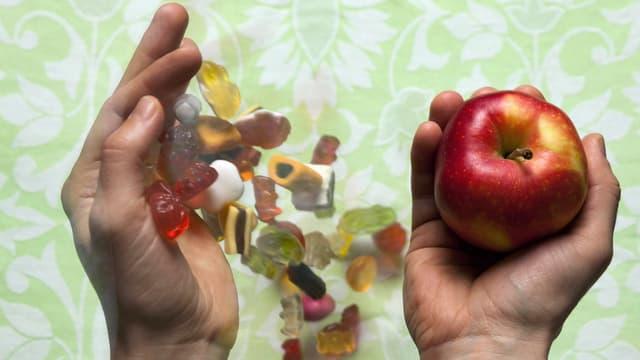 Apfel statt Süssigkeiten