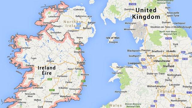 Karte von Irland, Nordirland und Grossbritannien.