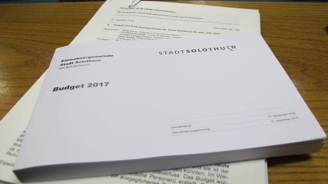 Dickes Buch mit Aufschrift Budget 2017.