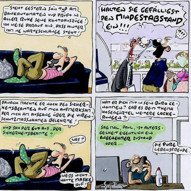 Comic mit Sprechblasen und Mensch auf Sofa