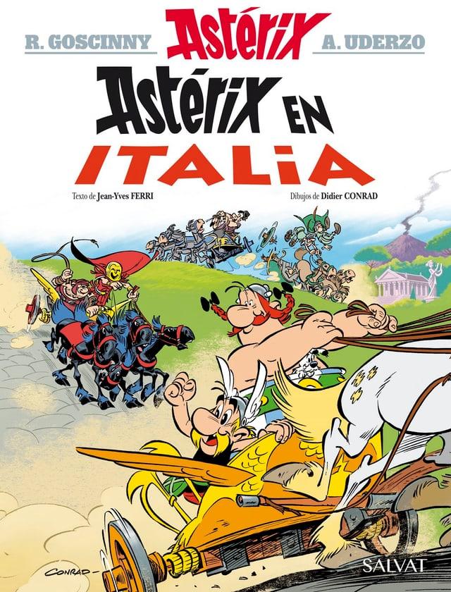 Das Cover des neuen Asterix-Bandes. An den Zügeln: Obelix.