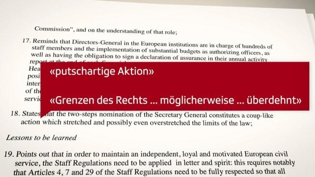 Auschnitt aus dem Resolutionsentwurf für das EU-Parlament.