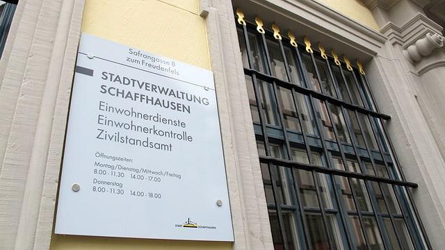 Eingangsschild der Einwohnerkontolle