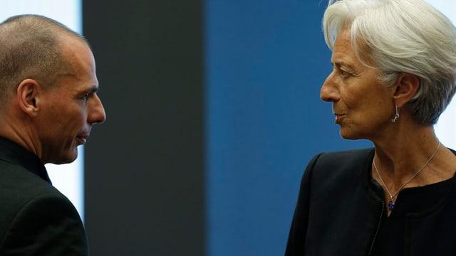 Griechenlands Finanzminister Varoufakis und IWF-Chefin Lagarde bei einem Treffen in Luxemburg.