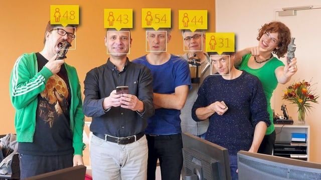 Das SRF-Digitalteam mit geschätztem Alter (meist falsch). Und die einzige Frau im Team wurde von der Seite nicht als Mensch erkannt. Diskriminierung! :)