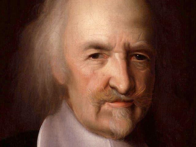 Das gemalte Porträt eines Mannes mit schütterem Haar und Oberlippenbart.