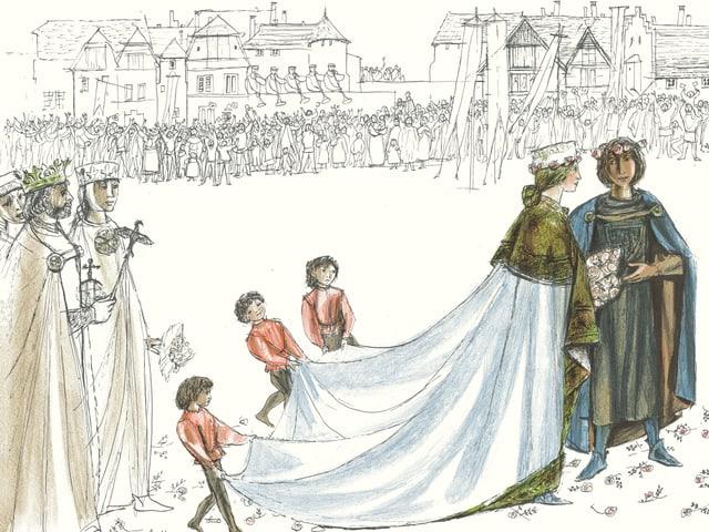 Zeichung einer Hochzeit.
