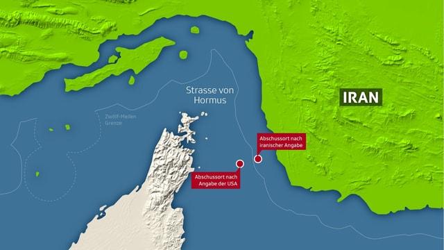 Karte der Strasse von Hormus mit us- und iranischen Angaben zum Abschussort der Drohne.