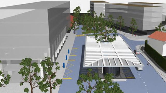 Visualisierung des künftigen Bahnhofs Altdorf