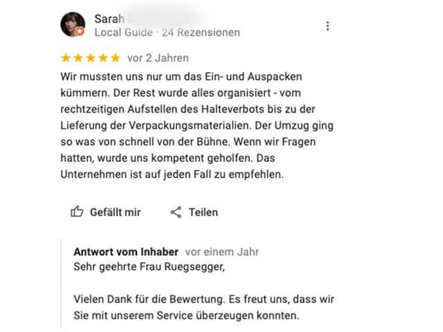 Längere Google Review als Beispiel