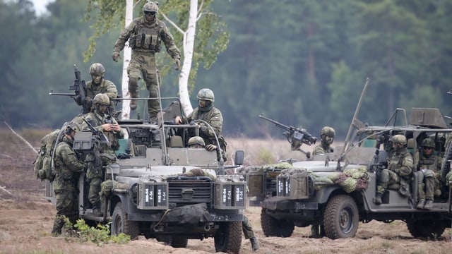 Soldaten in Tarnkleidung in und um mehrere Jeeps im Gelände.