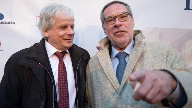 Peter Bieri und Alexander Tschäppät auf dem Roten Teppich in Bern.