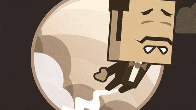 Ein animiertes GIF zeigt die Spielfigur aus dem Game «Asstronaut» durch den Himmel fliegen.