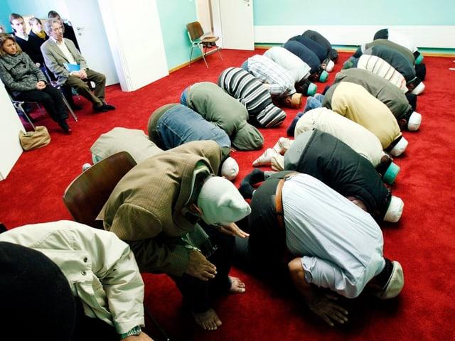 Menschen beten auf den Knien in einer Moschee. Symbolbild.