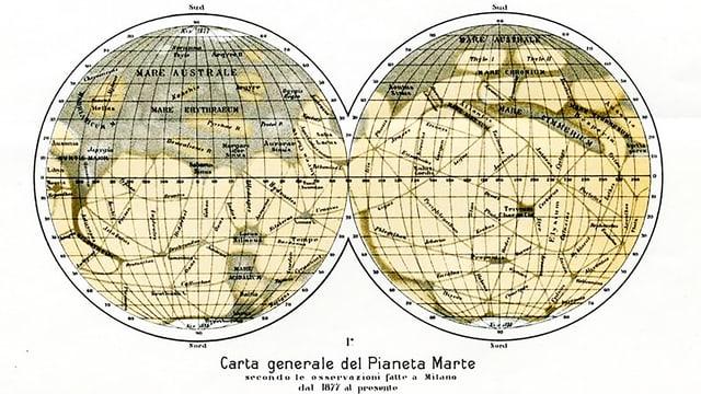 Alte Karte der Oberfläche des Planeten Mars.