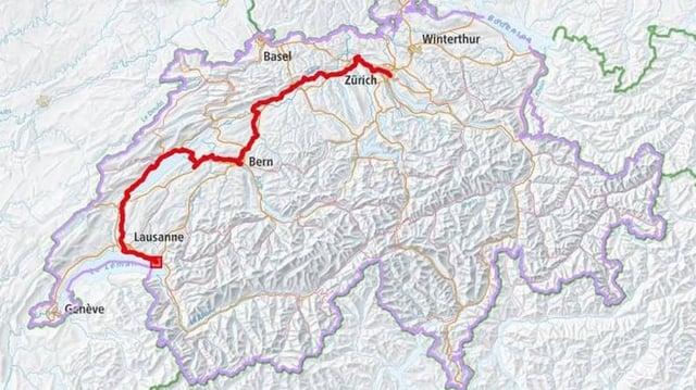 Schweizer Karte mit Routenverlauf.
