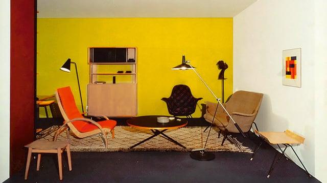 Ein Raum mit Designermöbeln aus den 1970er Jahren