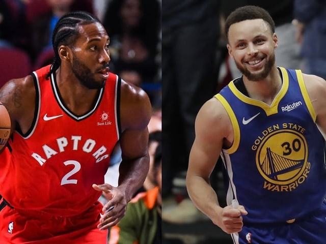 Torontos Kawhi Leonard und Golden States Stephen Curry.