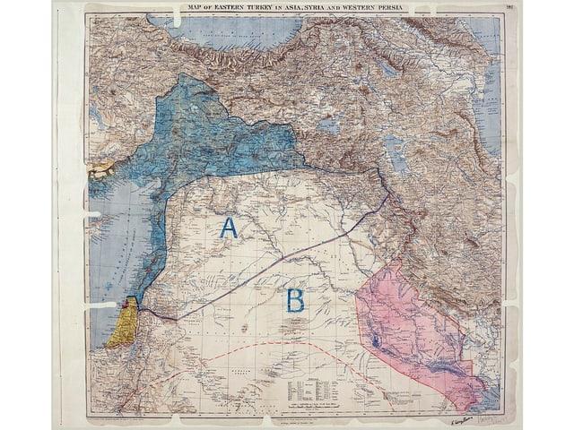 Eine Karte des Sykes Picot-Abkommens von 1915.