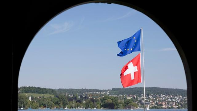 Schweizer und EU-Flagge, dahinter der Zürichsee.