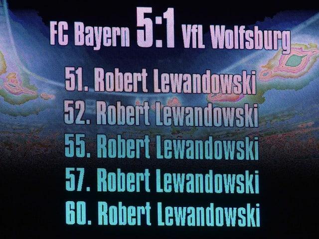 Die Anzeigetafel im Münchner Stadion nach der Lewandowski-Show.