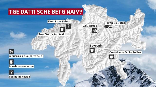 Ina carta dal Grischun cun iconas per bons da consumaziun, rabat u nagut sur territoris da skis