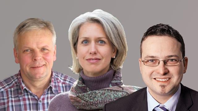 Bild mit den drei Kandidaten Rudolf Schweizer, Franziska Bitzi und Thomas Schärli.