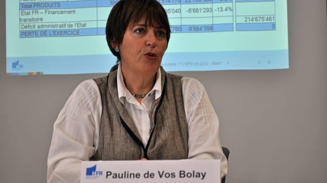 Pauline de Vos Bolay erklärte vor den Medien das Strukturproblem der Freiburger Spitäler.