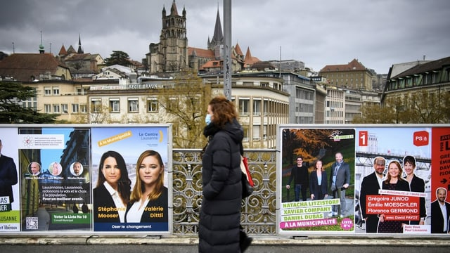 Wahlkampfplakate in der Stadt Lausanne