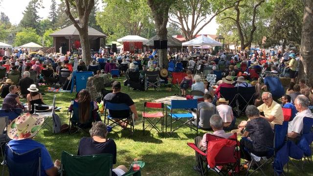 Menschen auf Campingstühlen sitzen in einem Park und wenden sich einer Bühne zu