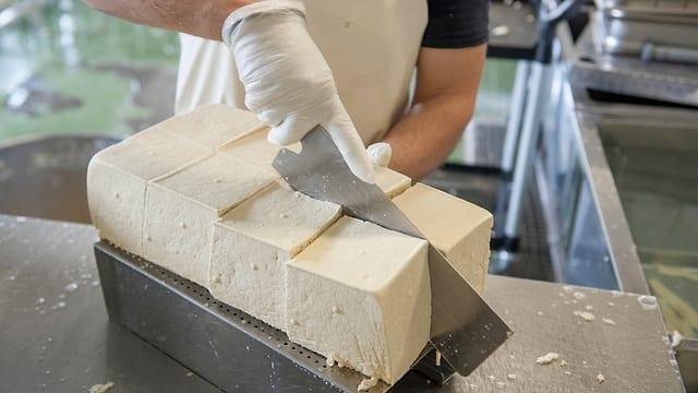Soja-Masse in Stücke geschnitten.