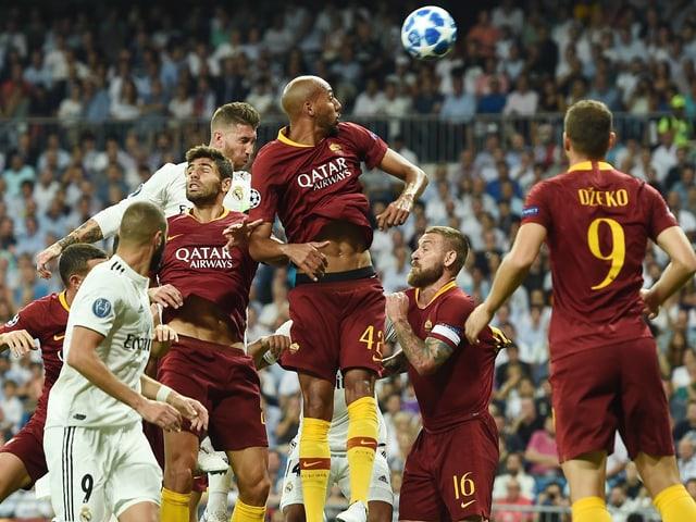 Szene aus der Partie zwischen Real Madrid und AS Roma