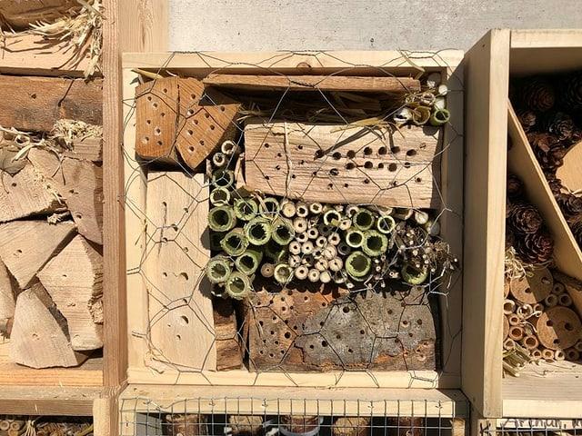 Holzkisten, gefüllt mit verschiedenen Hölzern.