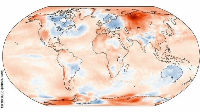 Weltkarte mit blauen und roten Flächen. Die Farben entsprechen der Abweichung der Temperatur im Mai zum langjährigen Durchschnitt.