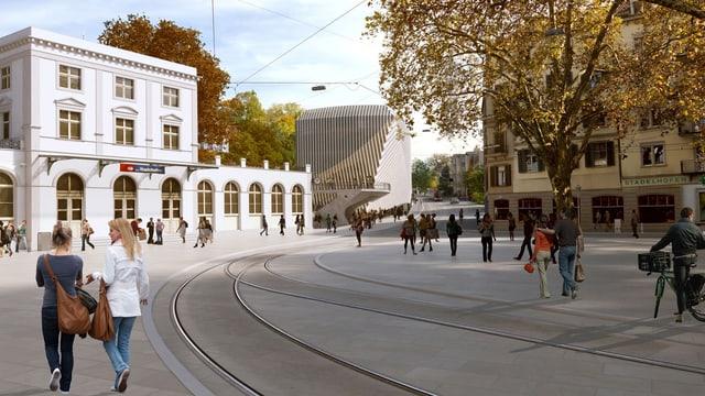 Visualisierung Calatrava-Bau Haus zum Falken mit dem Bahnhof Stadelhofen im Vordergrund