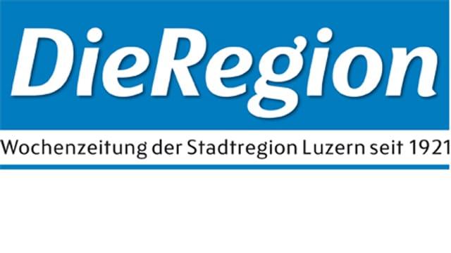 Das Logo der Luzerner Lokalzeitung «Die Region». Weisse Schrift auf blauem Hintergrund.