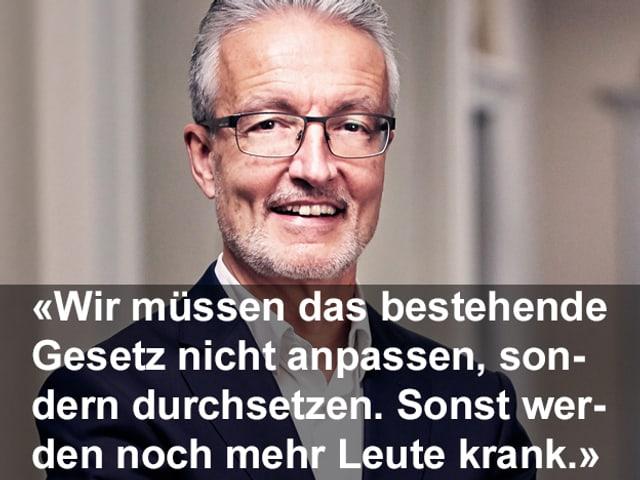 Zitat in weisser Schrift, dahinter das Porträtbild von Rolf Butz. Zitat: «Wir müssen das bestehende Gesetz nicht anpassen, sondern durchsetzen. Sonst werden noch mehr Leute krank.»