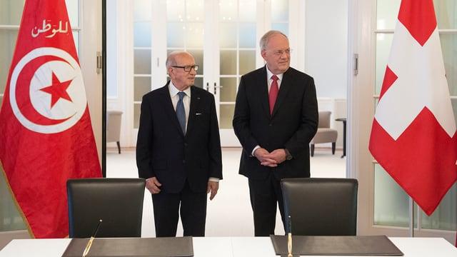Il president da la Tunesia, Beji Caïd Essebsi durant l'inscunter cun il president da la Confederaziun Johann Schneider-Ammann