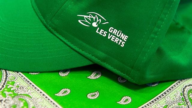 """Grüner Hut mit Aufschrift """"Grüne - Les Verts"""""""