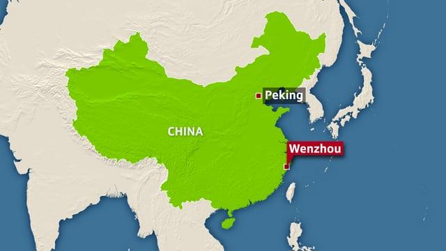 Karte von China- die Städte Peking und Wenuhou sind eingezeichnet,