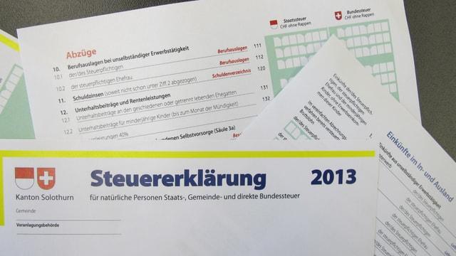 Steuererklärung 2013, Kanton Solothurn.