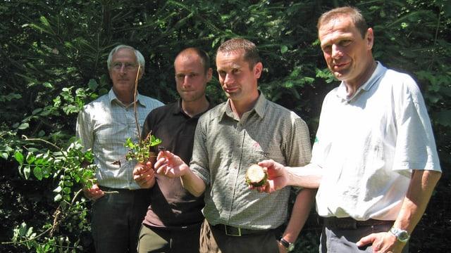 Hans Imper, Pascal Epper, Daniel Böhi und Erich Tiefenbacher. Förster im Kanton Thurgau.