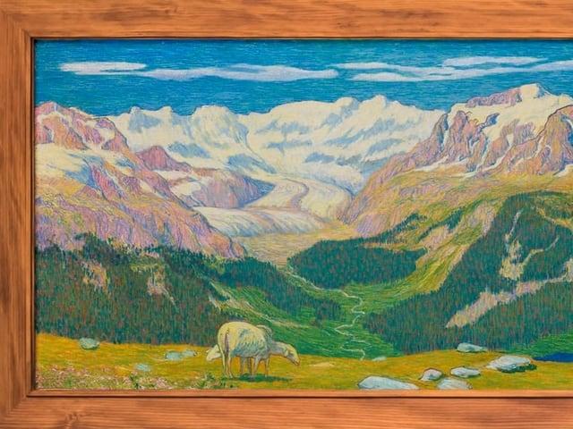 Ausschnitt des Gemäldes zeigt Schaf und Berglandschaft