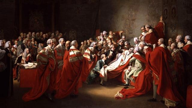 Der Earl of Chatham, vom Schlag getroffen.
