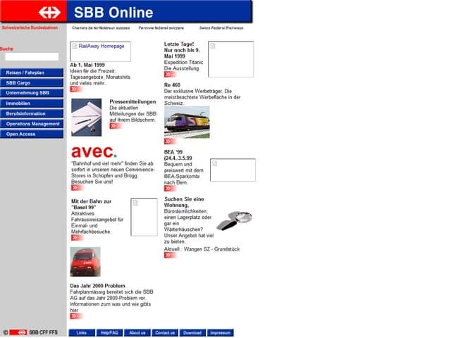 Die Internetseite der SBB vor 15 Jahren: Infos über das Unternehmen oder Abfahrtszeiten auf derselben Seite, keine Unterteilungen.