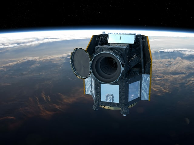So sieht es aus: Eine graphische Darstellung des Weltraumteleskops Cheops.